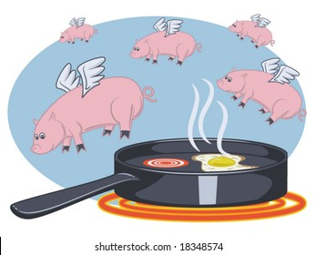 vector illustration of pigs flying over a pan