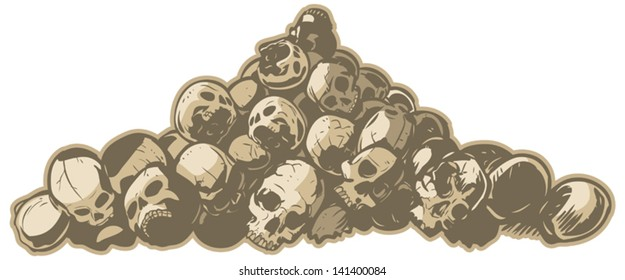 A vector illustration of a pile of cracked and broken skulls. Makes a great scary or hard core background element.