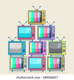 Vector illustration of a pile of many television.
