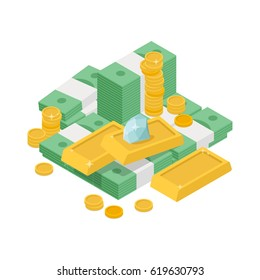 Vector illustration of a pile of money with the golden coins and ingots and the diamond. Isometric flat picture isolated on white background