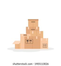 Vector illustration with pile of paper moving boxes isolated on white background.