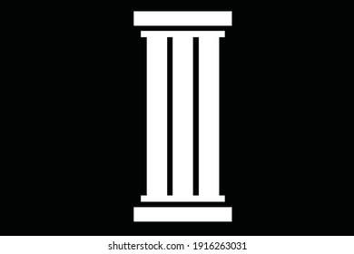 Vector illustration of a pillar building icon logo in white color