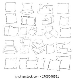 vector illustration of pillow, art, isolated, white, bed