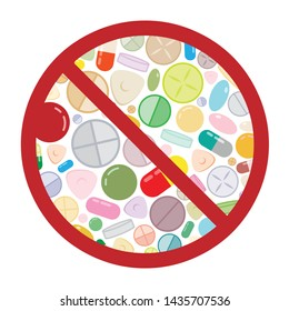 vector illustration of pills and medicine in restriction circle visuals for drug free or antibiotic restriction symbols