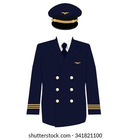Vector illustration pilot, captain, aviator uniform coat and cap with golden badge wings.
