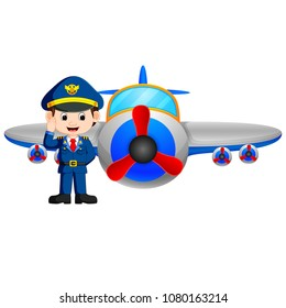 vector illustration of Pilot and jet plane on white background