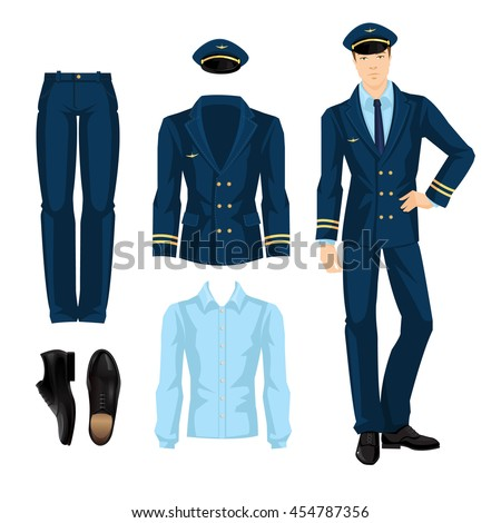 Vector Illustration Pilot Navy Blue Suit Stock Vector Royalty Free