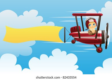 A vector illustration of a pilot on an airplane carrying a blank banner