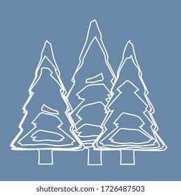 ilustración vectorial, bosque de pines en fondo azul ( líneas y curvas )