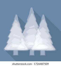 ilustración vectorial, bosque de pines en fondo azul