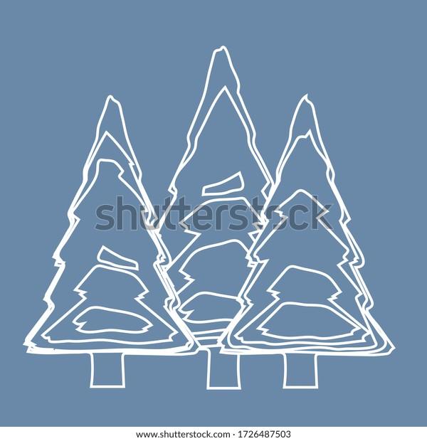 illustration vectorielle, forêt épinglée sur fond bleu ( lignes et courbes )