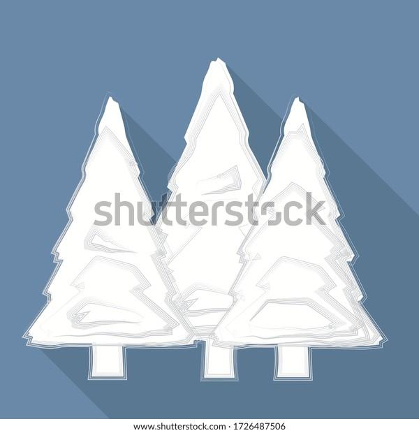 illustration vectorielle, forêt d'épingles sur fond bleu