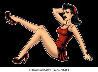 Vector illustration of Pin up Girl on dark background.