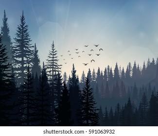 Vector illustration of Pine forest landscape background