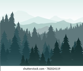 Vector illustration of pine forest and mountains vector background. Coniferous forest, fir silhouette and mountains in fog landscape.