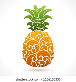 Vector illustration pineapple - symbol, icon, package design element, abstract ornamental pattern on white background