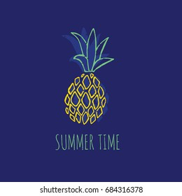 Vector illustration of pineapple and text summer time
