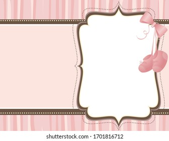 A vector illustration of a pink background empty frame featuring baby booties to announce the birth of a baby girl