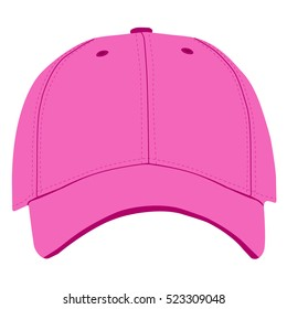 Vector illustration of pink baseball cap front view isolated on white background. Baseball cap template design