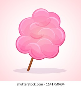 Vector illustration of pink candy floss icon