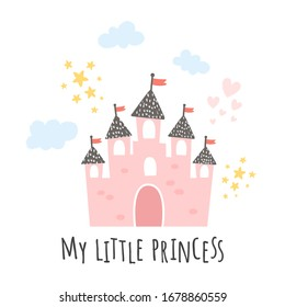 vector illustration, pink castle on white background and my little princess text
