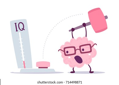Vector illustration of pink color human brain with glasses hits with a hammer to measure level iq on white background. Strong cartoon brain concept. Doodle style. Flat style design of character brain