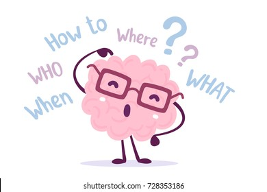 Vector illustration of pink color human brain with glasses thinks over the question on white background. Seeking answer cartoon brain concept. Doodle style. Flat style design of character brain