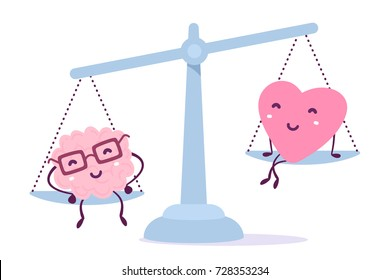 Vector illustration of pink color human brain with glasses and heart sit on the scales on white background. The brain outweighs the heart concept. Cartoon style. Flat style design of character brain