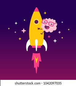 Vector illustration of pink color smile brain with glasses flying on a rocket on white background. Startup cartoon brain concept. Doodle style. Flat style design of character brain for education theme