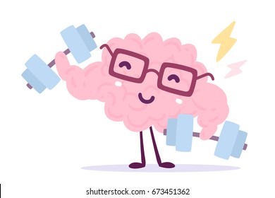 Vector illustration of pink color smile brain with glasses easy dumbbell swing on white background. Very strong cartoon brain concept. Doodle style. Flat style design of character brain for training
