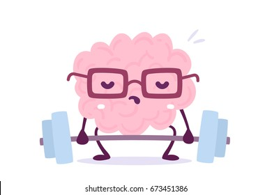Vector illustration of pink color smile brain with glasses try to lift weights on white background. Train of cartoon brain concept. Doodle style. Flat style design of character brain for training