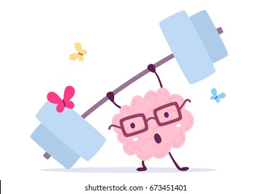 Vector illustration of pink color smile brain with glasses very hard lifts weights with butterfly on white background. Fitness cartoon brain concept. Doodle style. Flat style design of character brain