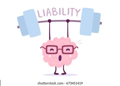 Vector illustration of pink color smile brain with glasses very hard lifts weights on white background. Train liability of cartoon brain concept. Doodle style. Flat style design of character brain