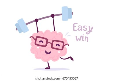 Vector illustration of pink color smile brain with glasses easy lifts weights on white background. Fitness cartoon brain concept. Doodle style. Flat style design of character brain for sport, training