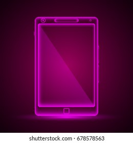 Vector illustration of pink colored neon tablet logo.