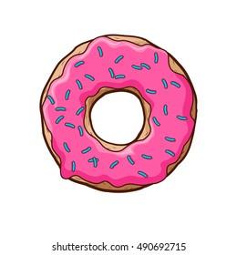Vector illustration of pink donut.