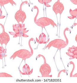 Vector illustration of pink flamingo bird with pink lotus flowers and leaves. Romantic pink seamless pattern.