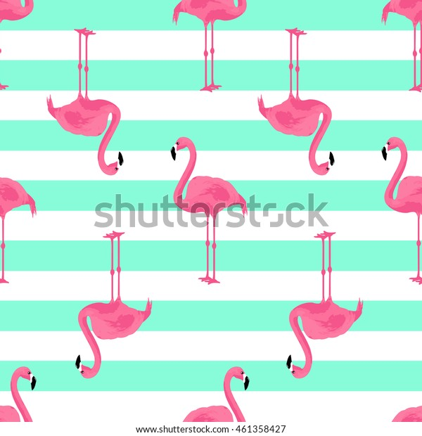 Vector illustration pink flamingo. Exotic bird. seamless pattern. Cute flamingo.