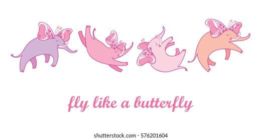 Vector illustration with pink flying elephant with ornate butterfly wings isolated on white background. Set with cartoon cute elephants in contour style for kids design. Fly like a butterfly concept