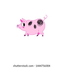 Vector illustration of pink funny pig on a white background. Sample for web page design, poster or postcard.