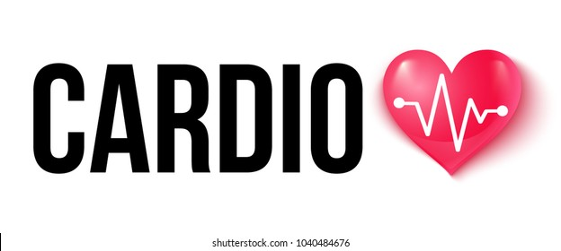 Vector illustration of a pink heart with pulse and text cardio. Heart and pulse. Cardio heart.