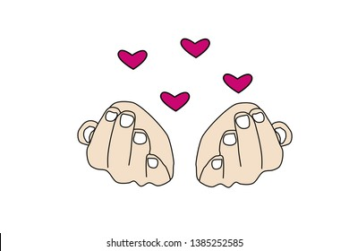 Vector, illustration Pink hearts over the hands. Symbol of love and tenderness