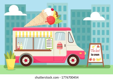 Vector Illustration of pink Ice Cream Van.Summer Truck with Glass Windows on the blue background.Advertising Billboard.High-rise Buildings for Web,Graphics,Design.Ice Cream on the Roof Cartoon style.
