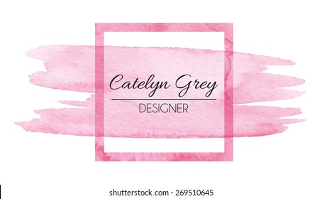 Vector illustration of pink logotype for business cards. Hand drawn watercolor elements