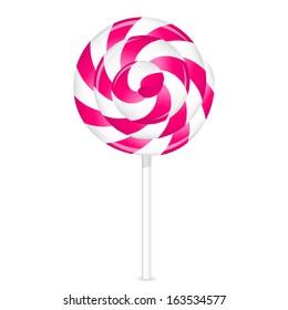 Vector illustration of pink lollipop