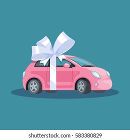 Vector illustration pink mini woman car with white bow flat style on blue background. Concept design gift automobile.