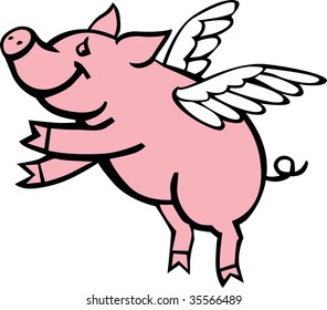 vector illustration of pink pig