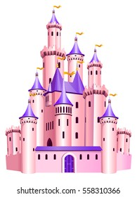 The vector illustration of pink princess castle. Tale dollish palace.