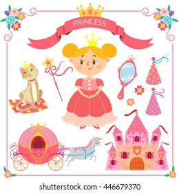 Vector illustration of pink princess. Set of items for princesses