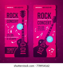 vector illustration pink rock concert ticket design template with guitar and grunge effects